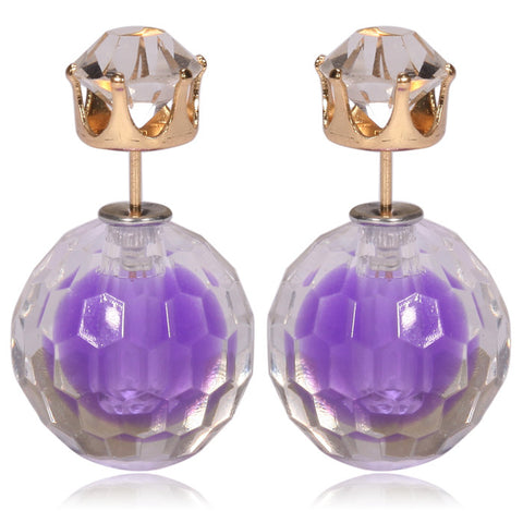 Gum Tee Mise en Style Tribal Double Bead Earrings - Hidden Gem Purple