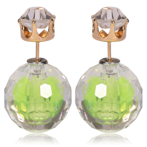 Gum Tee Mise en Style Tribal Double Bead Earrings - Hidden Gem Pale Neon Green