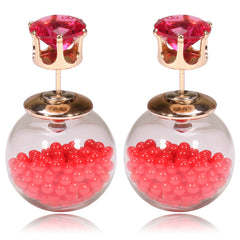 Gum Tee Tribal Earrings - Floating Caviar Red