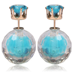 Gum Tee Mise en Style Tribal Double Bead Earrings - Matching Hidden Gem Aquamarine