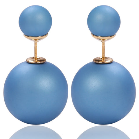 Mise en Gum Tee Style Tribal Earrings  - Matte Medium Blue