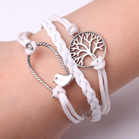 Rope Bracelet White Birdnest and Tree Bracelet