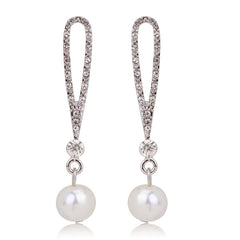 Bridal Dangle Silver Long Drawn Pearl Earrings with Crystal