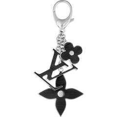 Beady LogoZ Design Bag Tag Keychain Silver & Black
