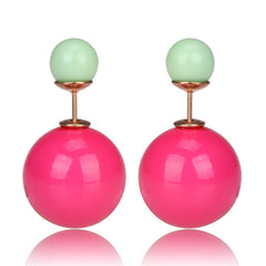 Gum Tee Mise en Style Tribal Earrings - Jelly Rose Pink & Pastel Light Green