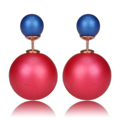 Gum Tee Mise en Style Tribal Earrings - Matte Raspberry & Matte Royal Blue
