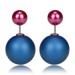 Gum Tee Mise en Style Tribal Earrings - Matte Royal Blue & Metallic Purple