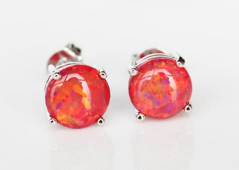 Beady Lucky Fire Red Opal Silver Earrings - 8 mm