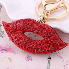 Beady Golden RED HOT LIPS Keychain and Bag Charm Combo