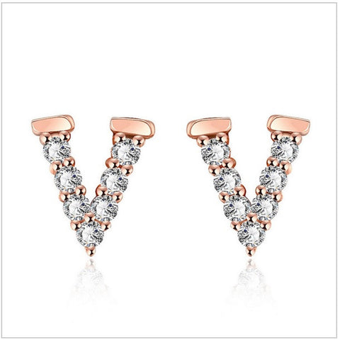 BeadyBoutique Crystal V Design Earrings - Rose Gold