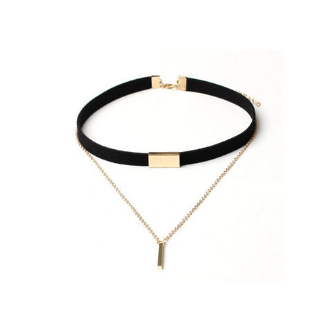 Luxury Velvet Choker - Black with Gold Pendant
