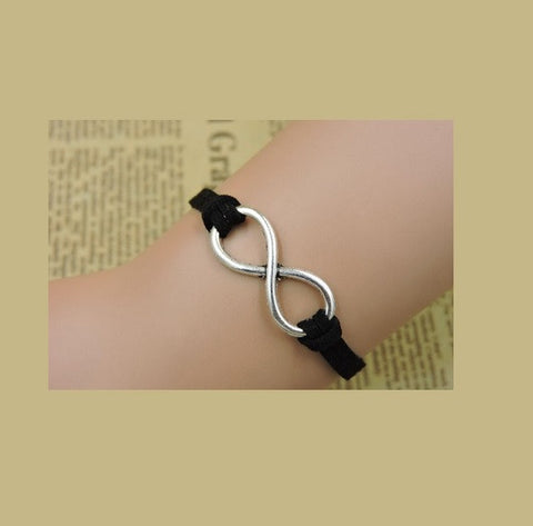 Rope Bracelet Black and Gold Infinity