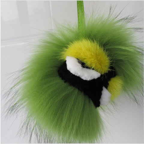 BEADY FUR MONSTER BAG CHARM - BRAZIL in GREEN