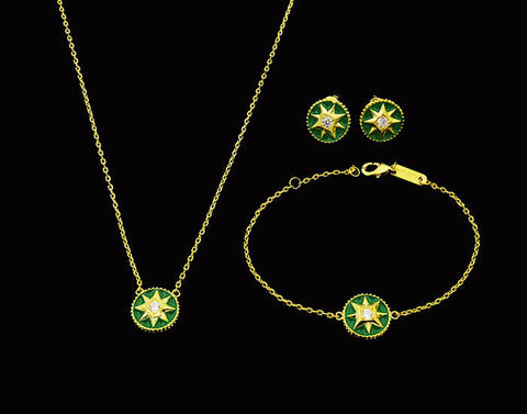 BeadyBoutique Lucky Star Jewelry Collection 3 Piece Set - Green