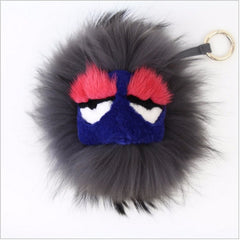 BEADY FUR MONSTER BAG CHARM - GREGORY in GREY