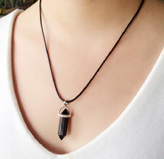 BeadyBoutique Stonehenge Necklace - Black Leather - Black Agate