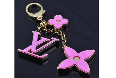 Beady LogoZ Design Bag Tag Keychain Gold & Pink