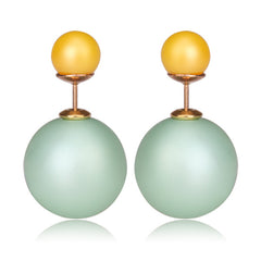 Gum Tee Mise en Style Tribal Earrings - Matte Mint Green and Yellow