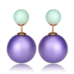 Gum Tee Mise en Style Tribal Earrings - Matte Purple and Green