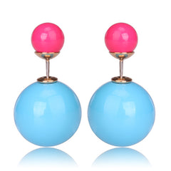 Gum Tee Mise en Style Tribal Earrings - Pastel Light Green and Rose Red