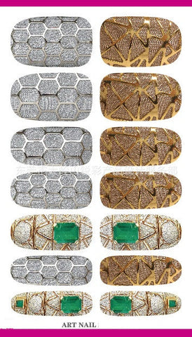 Nail Decor Decals Gold and Silver Cage Design