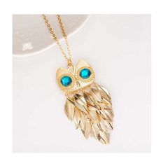 Owl Collection Gold with Aqua Crystal Eyes
