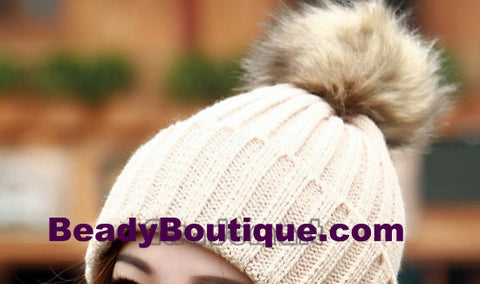 Tight Knitted Skull Pom Beanie - Beige