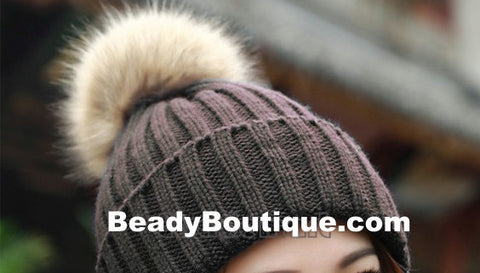 Tight Knitted Skull Pom Beanie - Brown