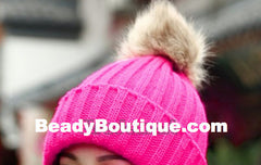 Tight Knitted Skull Pom Beanie - Pink