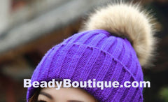 Tight Knitted Skull Pom Beanie - Purple