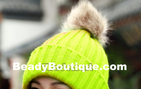 Tight Knitted Skull Pom Beanie - Yellow