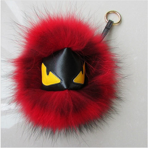 BEADY FUR MONSTER BAG CHARM - BLAKE in FUSCHIA