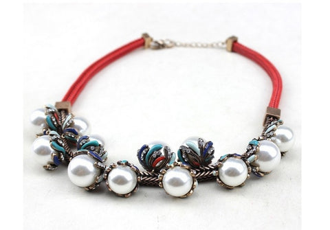 Beady Luxury Red and Bronze Royalty Pearl Necklace