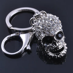 Beady Silver Crystal Skull Keychain and Bag Charm Combo