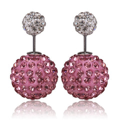 Limited Edition Tribal Earrings - Swarovski Crystal Pink & White