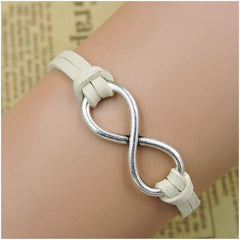 Rope Bracelet White and Silver Infinity