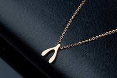 Beady Wishbone Necklace - Rose Gold