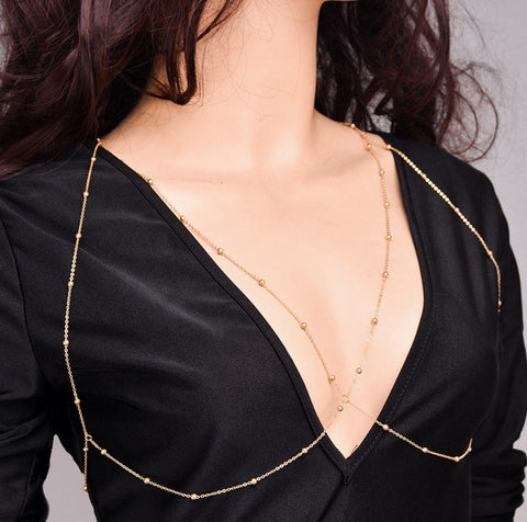Beady Wrap Around Necklace - Gold