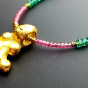 Afromillus golden Pendant with tourmaline and Czech beads |