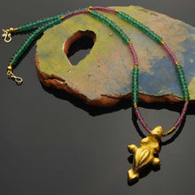 Lade das Bild in den Galerie-Viewer, Afromillus golden Pendant with tourmaline and Czech beads |