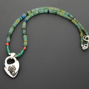 Green Czech beads with silver Celtic pendant