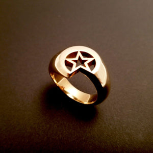 solid and bold star and moon ring