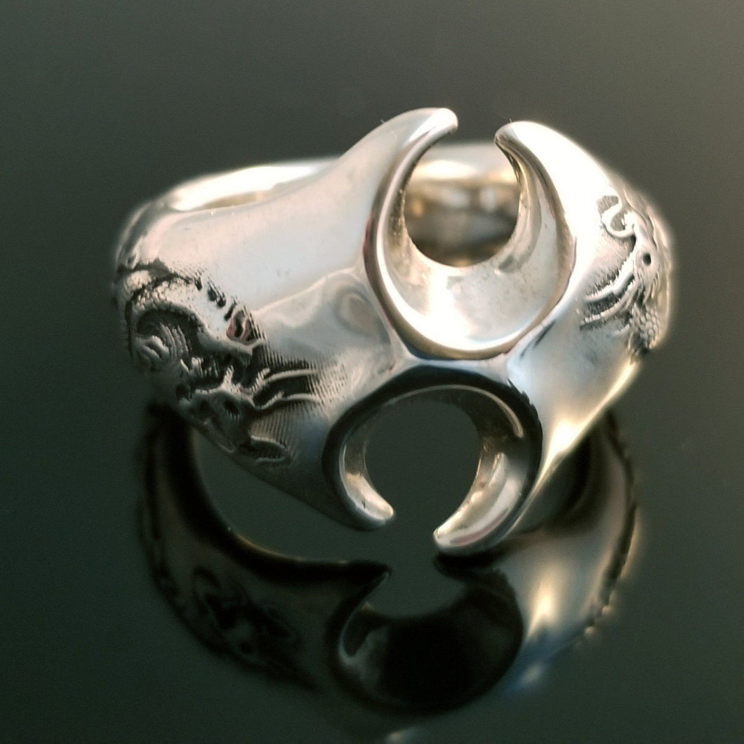 Large dragon silver ring