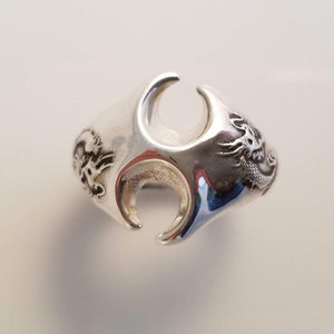 Fire dragon silver ring