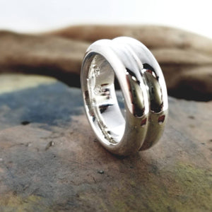 Double ring in sterling silver