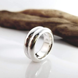 Double ridge sterling silver ring