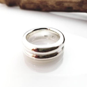thick large silver ring