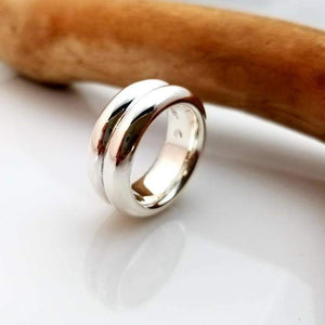 cool large double side silver ring