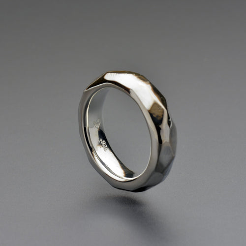 Faceted Silver Ring | hand made one of a kind thick band |