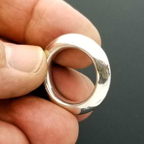 Smooth sterling silver disk ring